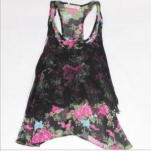 Floral lace tank top